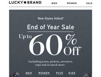 Lucky Brand End of Year Sale - Up to 60% Off