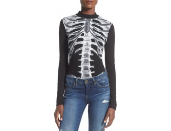 73% off Missguided Skeleton Print Women's Bodysuit