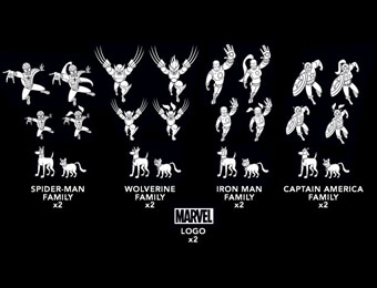 67% off Marvel Superhero Family Car Decals, 50 Decals Per Set