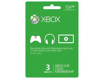$12 off Microsoft Xbox LIVE 3-Month Gold Membership