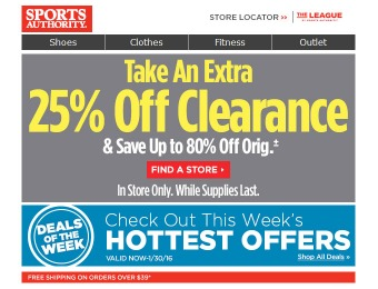 Extra 25% off Clearance Items at Sports Authority, Up to 80% off