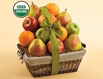 50% off Organic Fruit Gift Basket (Pears, Oranges, Grapefruit, Apples)