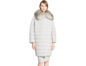 60% off Women's Max Mara Quilted Coat with Genuine Fox Fur Trim
