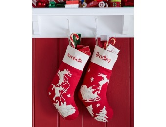 66% off Horchow Red Santa & Sleigh Stocking, Sleigh W/Trees