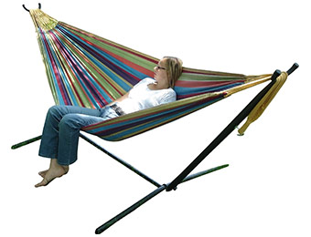 41% off Vivere Double Hammock w/ Space-Saving Steel Stand UHSDO9