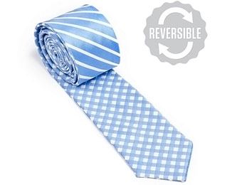 68% off Two Sided Stripe And Check Skinny Silk Tie
