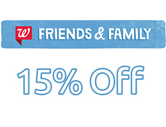 15% off online purchases at Walgreens.com w/ code: FAMILY15
