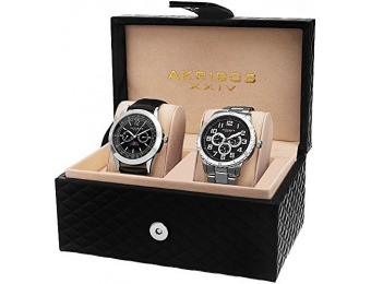 91% off Akribos XXIV Men's AK740SSB Silver-Tone Watch Set