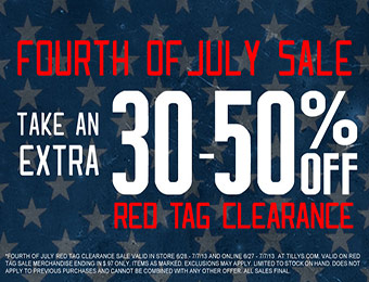 Fourth of July Sale - Extra 30-50% off at Tilly's