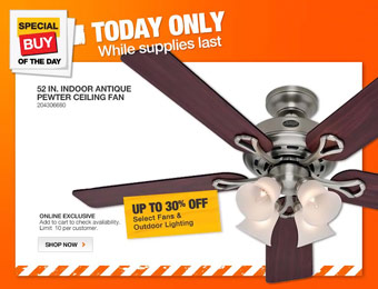 Up to 30% off Select Ceiling Fans & Lighting