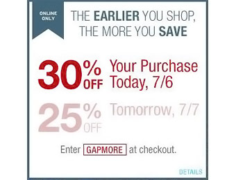 30% off Your Entire Purchase at Gap.com with code: GAPMORE