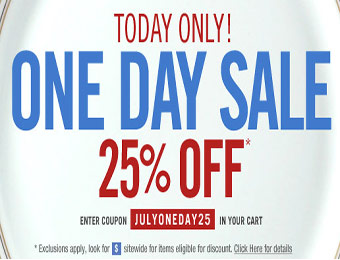 25% off One Day Sale with coupon code: JULYONEDAY25