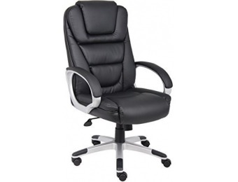 "77% off Boss Black ""No Tools Required"" Executive Leather Chair"