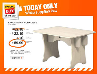 27% off Knock Down Plywood Work Table