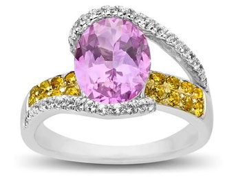 72% off Pink, White, and Honey Topaz Ring in Sterling Silver