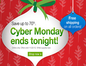 Up to 70% off Cyber Monday Deals + Free Shipping on all orders