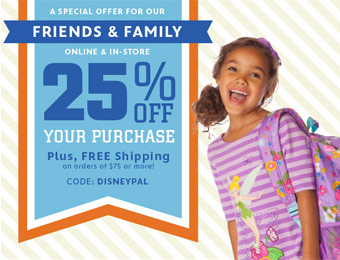 Extra 25% off During the Friends & Family Sale w/code: DISNEYPAL