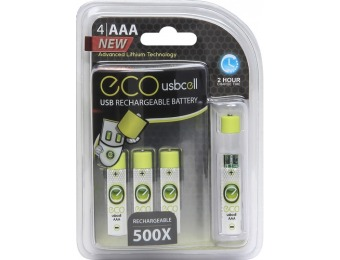 50% off Eco Cell Usb Cell Rechargeable AAA Batteries 4-pack