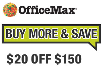 $20 off $150 with OfficeMax promo code 20SAVE