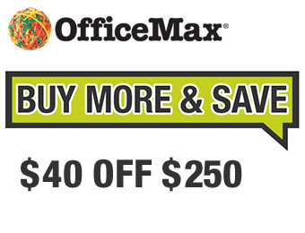 $40 off $250 with OfficeMax promo code 40SAVE