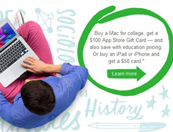 Apple Back to School Sale, Free $50-$100 Gift Card w/ Select Purchases