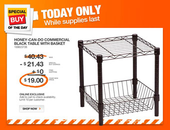 53% off Honey Can Do SHF-02216 Shelving Table with Basket
