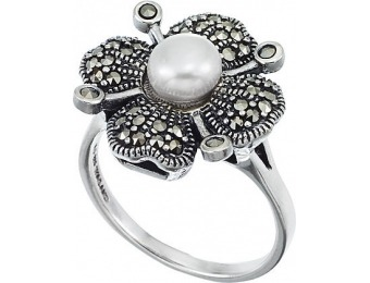 84% off Sterling Silver Marcasite Floral Ring Mother of Pearl