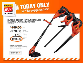 $71 off Black & Decker CCC3000 18V Cordless Lawncare Center