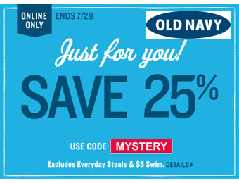 25% off Entire Purchase at Old Navy with code: MYSTERY