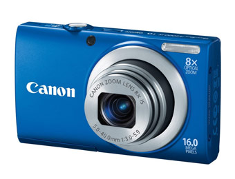 $119 off Canon PowerShot A4000IS 16MP Digital Camera, Blue or Silver
