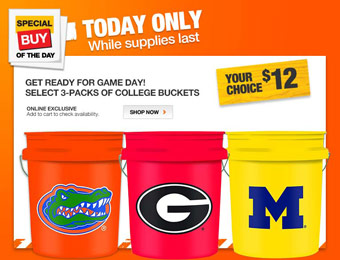 32% off 3-Packs of College Team Logo 5 Gallon Buckets