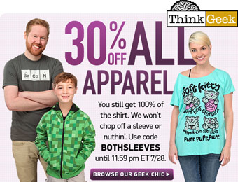 Extra 30% off All Apparel at ThinkGeek w/code: BOTHSLEEVES