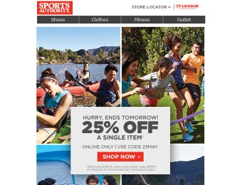 Sports Authority Flash Sale - 25% Off Any Single Item