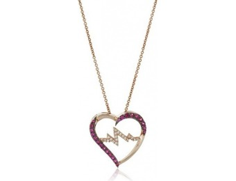96% off Ruby and Sapphire Heart Pendant Necklace