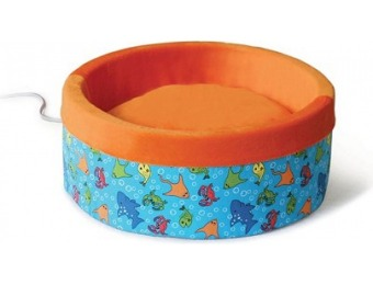 73% off K&H Fish Print Thermo-Kitty Heated Cat Bed in Orange