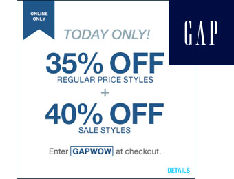 40% off Sale Items & 35% off Regular Items w/code: GAPWOW