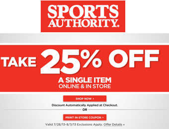 Extra 25% off a Single Item at Sports Authority