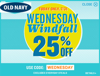 Extra 25% off Your Purchase at Old Navy w/code: WEDNESDAY