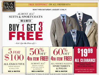 Deal: Buy 1 Get 3 Free Suits & Sportcoats at Jos. A. Bank