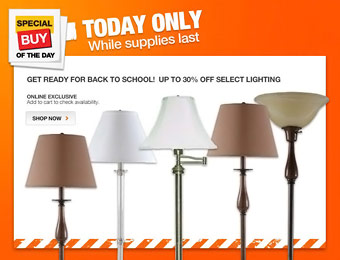 Up to 30% off Select Hampton Bay Floor Lamps at Home Depot