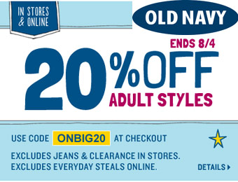 Extra 20% off Adult Clothing Styles at Old Navy w/code: ONBIG20