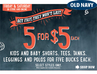 5 for $5 Each Kids Clothes Sale, Shorts, Tees, Polos, & More