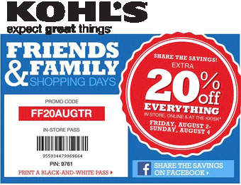 Extra 20% off Kohl's Friends & Family Sale w/code FF20AUGTR