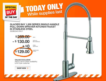 $130 off Glacier Bay 1,200 Series Single-Handle Kitchen Faucet