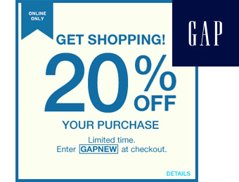Extra 20% off Your Entire Purchase at Gap.com w/code: GAPNEW