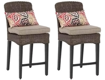 $143 off 2-Pack Hampton Bay Patio High Dining Chairs w/ Cushions