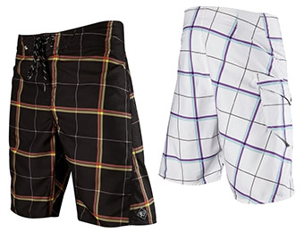 50% off Fox Racing Lloyd Plaid Board Shorts (black or white)