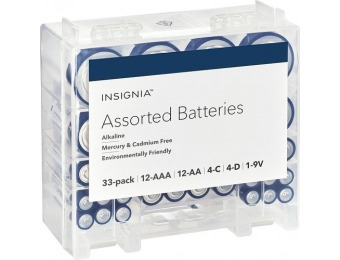 43% off Insignia Assorted Batteries With Storage Box (33-pack)