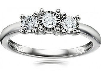 $191 off Sterling Silver 3-Stone Diamond Engagement Ring