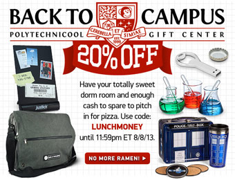 20% off Back to Campus Dorm Room Items w/code: LUNCHMONEY